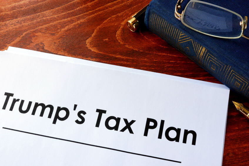 Document with Trump Tax Plan next to Small Business Tax book